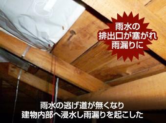 雨水の逃げ道がなくなり屋根裏への雨漏りを起こした例