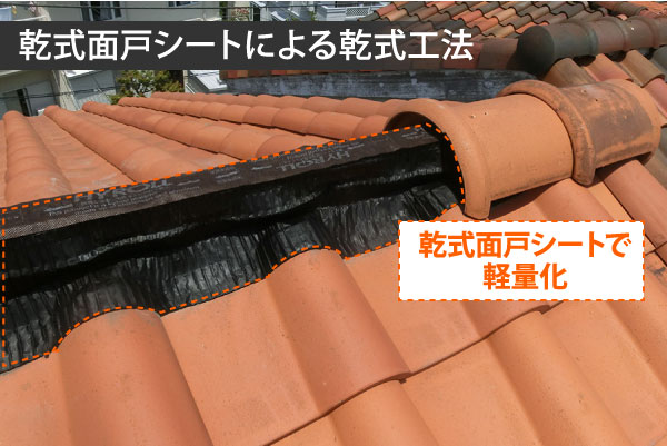 乾式工法は乾式面戸シートで屋根を軽量化します