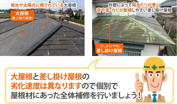 大屋根と差し掛け屋根の劣化速度は異なりますので個別で屋根材にあった全体補修を行いましょう