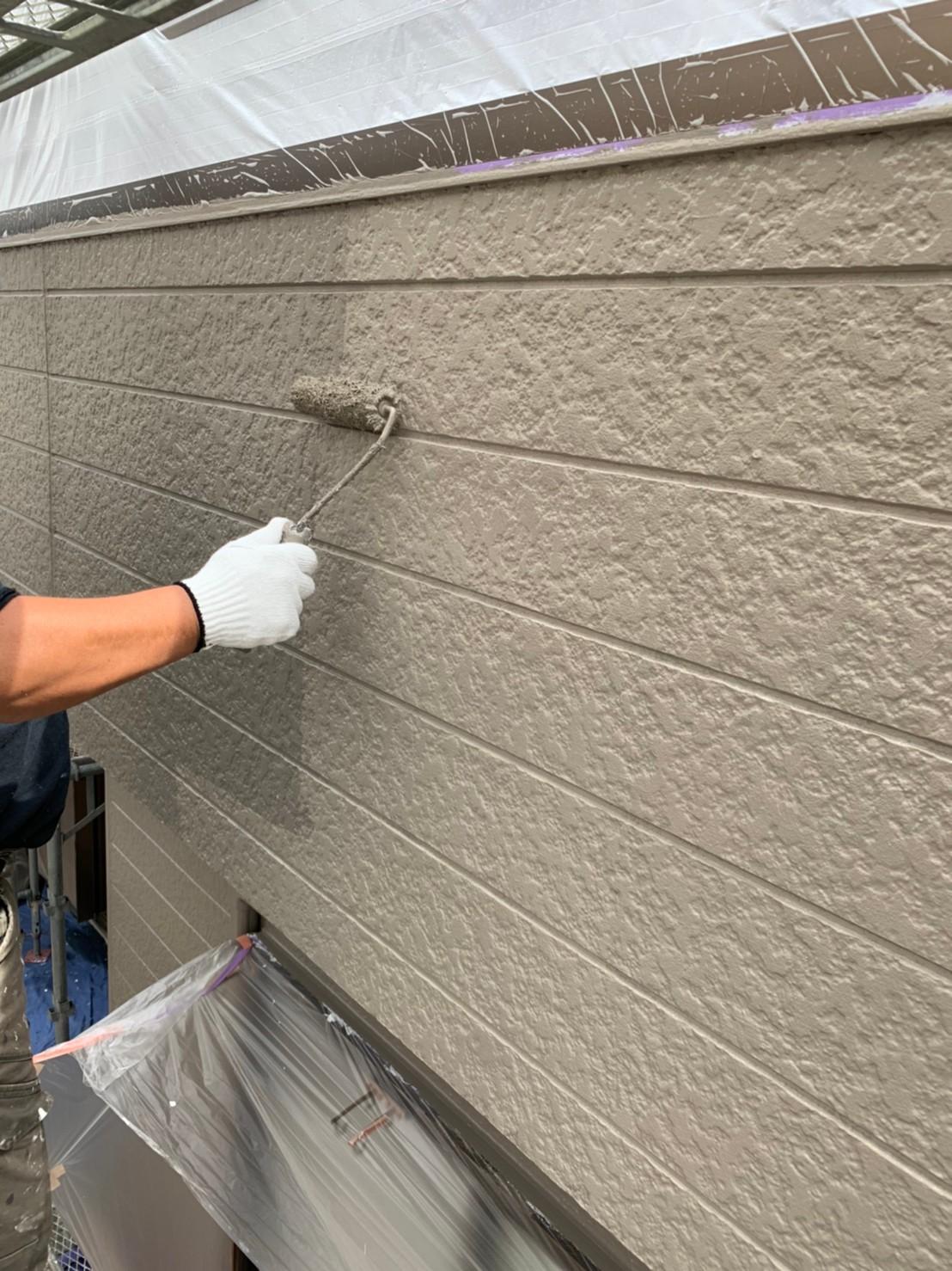 川越町、外壁塗装、上塗り
