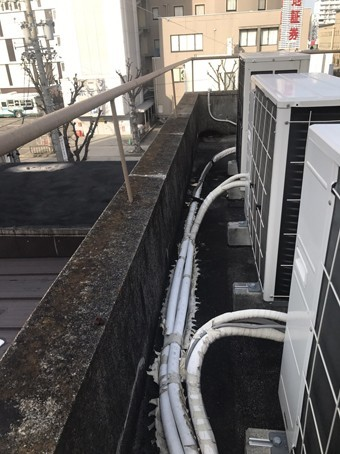 陸屋根のパラペットには、今では殆ど使われないコンクリート笠木が使われていた。