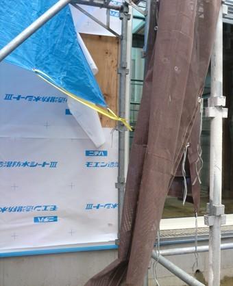 A様邸の外壁防水1 モエン透湿防水シートIII