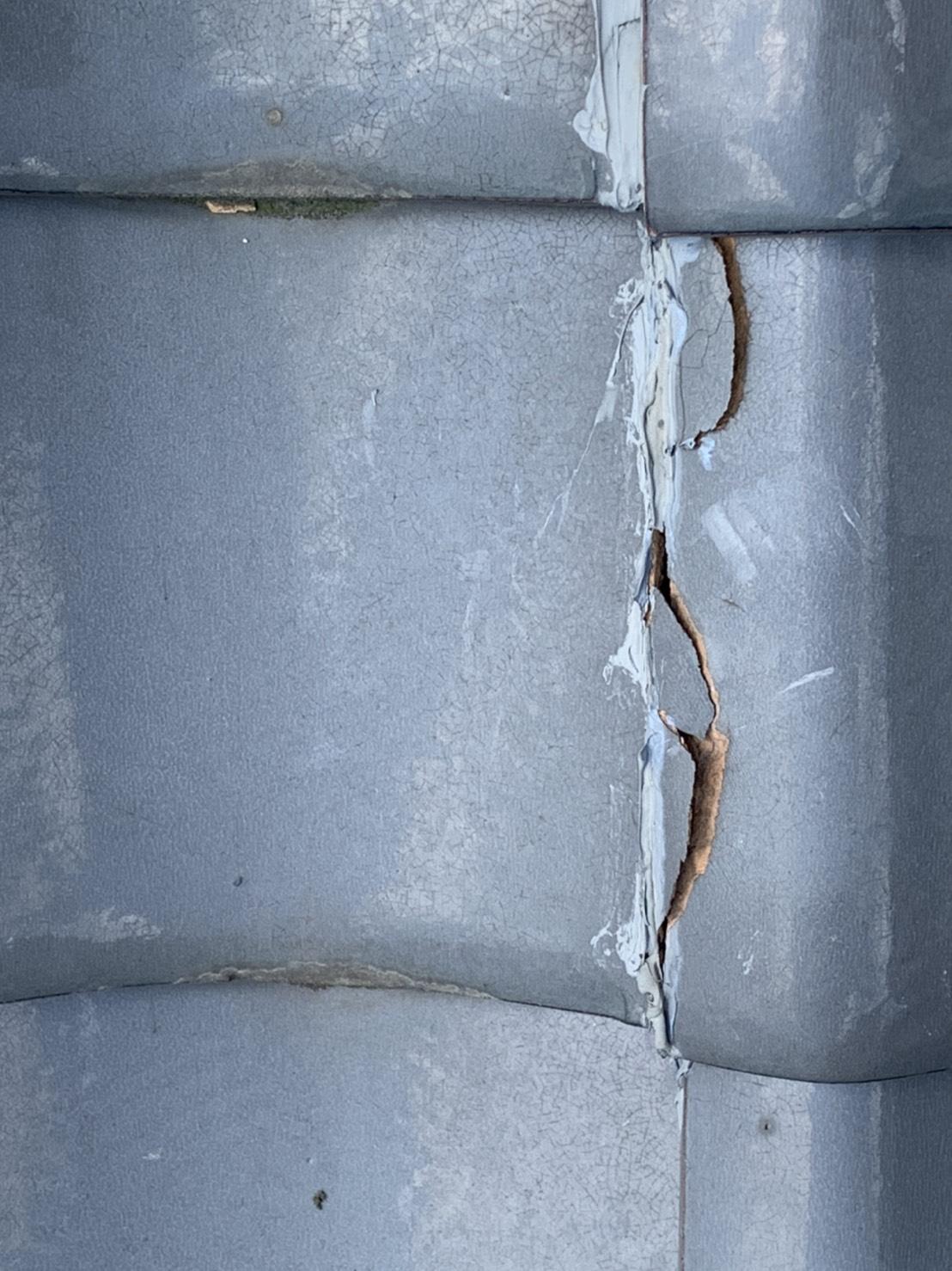 四日市市瓦凍て割れの屋根