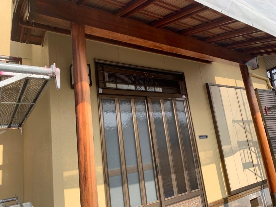 いなべ市、玄関、木部塗装