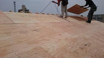千鳥に配した構造用合板を垂木に釘打ち