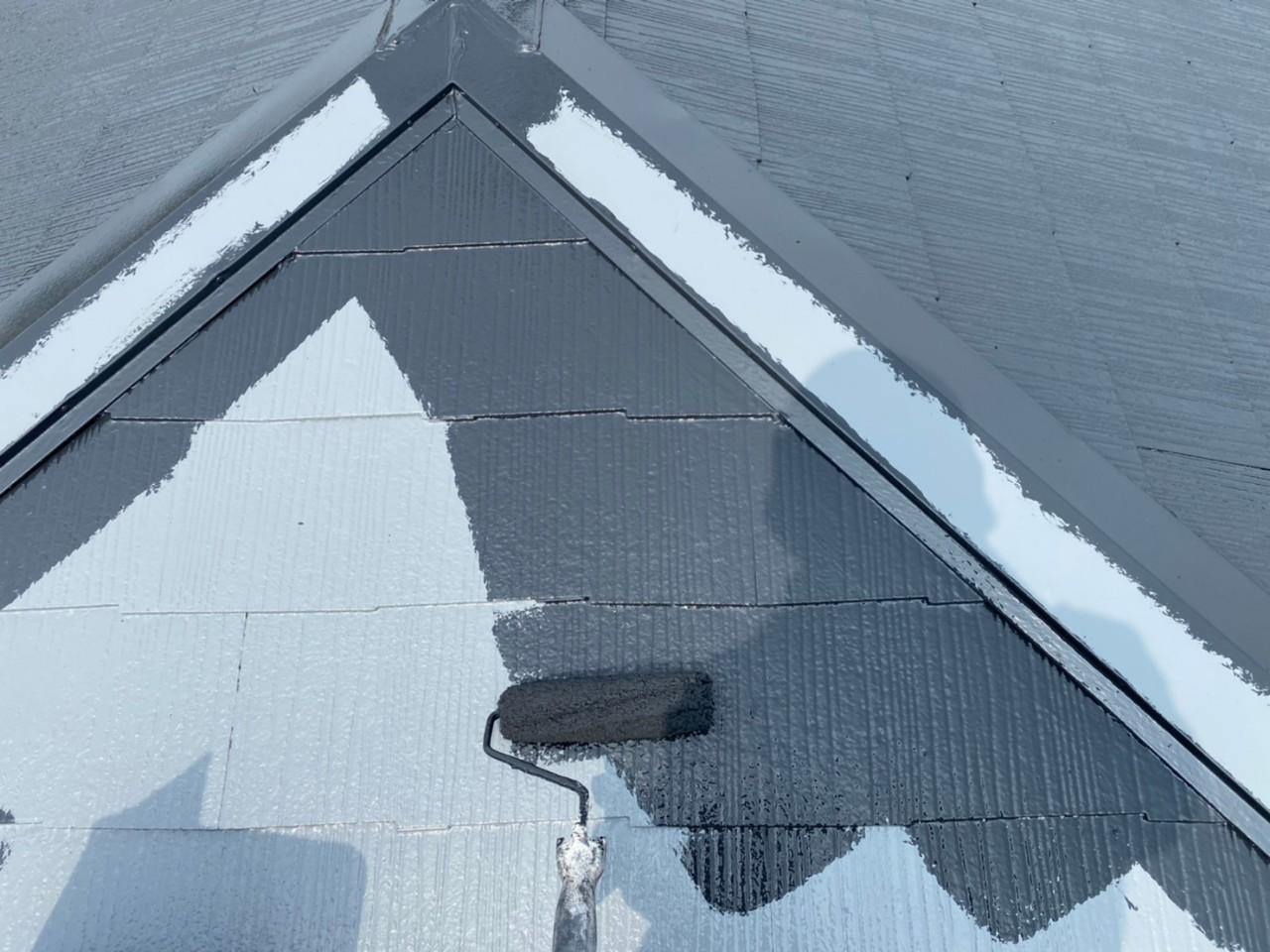 四日市市、屋根塗装、上塗り