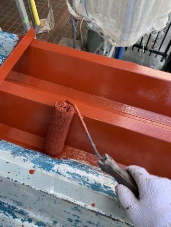 折板カーポート屋根下塗り(錆止め)