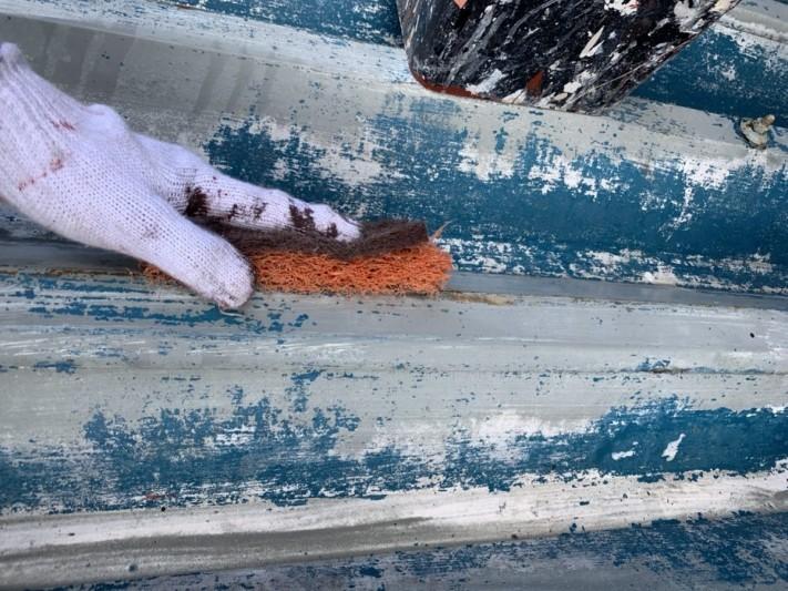 折板カーポート屋根マジックロンケレン作業