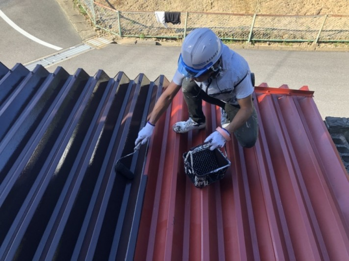 折板カーポート屋根塗装
