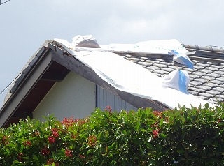 台風被害 屋根部破損 街の屋根やさん四日市店 津市