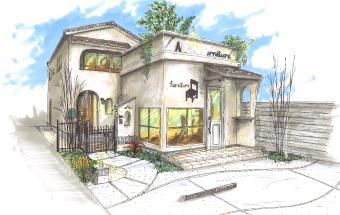 奥に切妻屋根のA様邸、手前に三方パラペット片流れ屋根のA様店舗を描いた手描きパース
