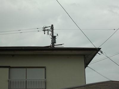 三重県四日市市にて台風被害による棟板金の破損状況の確認