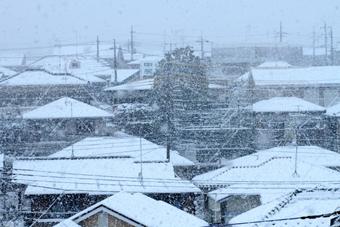 雪が降る中で家々の屋根は白くなっている。