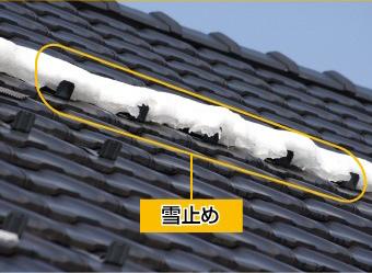 平板瓦に設置された雪止め金具の例。