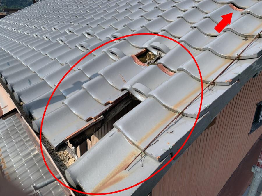 瓦屋根補修前